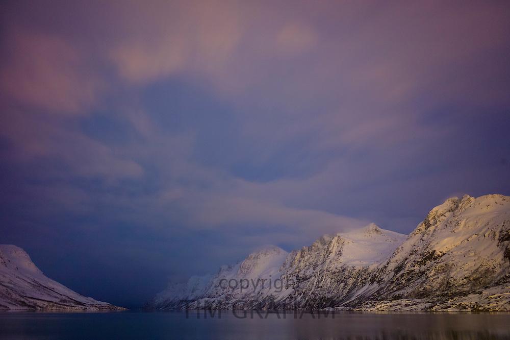 Arctic sky and landscape at Ersfjordbotn on Klavoya Island near Tromso, Northern Norway