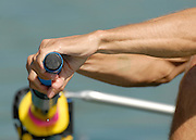 Munich, GERMANY, 27.08.2007, USA LM4-,  Stroke,  Tom PARADISO, applies the first pressure to the blade, only the opening stroke of the US Lightweight men's fours heat, on the second day on the  Munich Olympic Regatta Course, venue for 2007 World Rowing Championship, Bavaria. [Mandatory Credit. Peter Spurrier/Intersport Images]..... , Rowing Course, Olympic Regatta Rowing Course, Munich, GERMANY