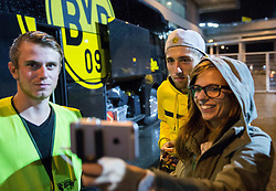 Kevin Kampl of Borussia Dortmund making selfie with fans after the football match between WAC Wolfsberg (AUT) and  Borussia Dortmund (GER) in First leg of Third qualifying round of UEFA Europa League 2015/16, on July 30, 2015 in Wörthersee Stadion, Klagenfurt, Austria. Photo by Vid Ponikvar / Sportida