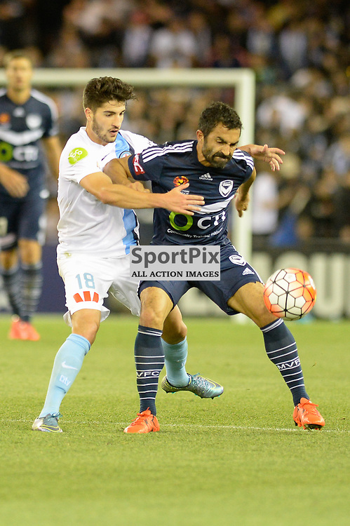 """Paulo Retre of Melbourne City, Fahid Ben Khalfallah of Melbourne Victory - Hyundai A-League - October 17th 2015 - ROUND 2- Melbourne Victory FC v Melbourne City FC in the first derby for the 2015 season with a 3:2 win to Victory on the 90"""" - © Mark Avellino   SportPix.org.uk"""