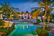 El Conquistador, Resort, Hotel, Pool, Dusk, Night, Las Croabas Fajardo, Puerto Rico, USA,  Caribbean; Island; Greater Antilles; Commonwealth Puerto Rico