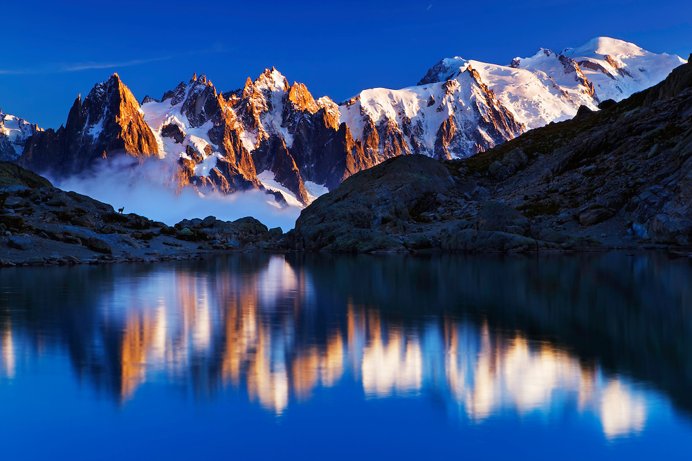 Mountain impression Lac Blanc with Aiguilles de Chamonix, Mont Blanc - Europe, France, Haute Savoie, Aiguilles Rouges, Chamonix, Lac Blanc - Sunset - September 2008