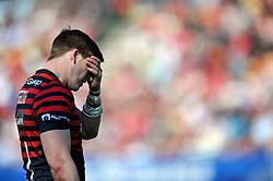David Strettle (Saracens) looks dejected during a break in play - Photo mandatory by-line: Patrick Khachfe/JMP - Tel: Mobile: 07966 386802 13/04/2014 - SPORT - RUGBY UNION - Allianz Park, London - Saracens v Northampton Saints - Aviva Premiership.