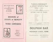 Munster Minor and Senior Hurling Championship Final, held at Croke Park, Dublin, Ireland.<br /> .25.07.1937, 07.25.1937, 25th July 1937,.25071937MSMHCF,..Beamish &amp; Crawford Limted Cork,..Dolphin Bar, Merchant Street Cork,.