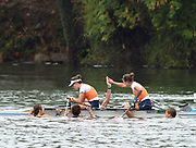 """Rio de Janeiro. BRAZIL. Gold Medalist NED LW2X. Bow. Ilse PAULIS, and Maaike<br /> HEAD, after winning the final, supporters swim out to greet and congratulate the double. 2016  2016 Olympic Rowing Regatta. Lagoa Stadium,<br /> Copacabana,  """"Olympic Summer Games""""<br /> Rodrigo de Freitas Lagoon, Lagoa. Local Time 10:40:28  Friday  12/08/2016 <br /> [Mandatory Credit; Peter SPURRIER/Intersport Images]"""