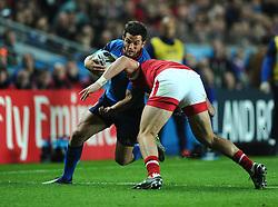 DTH van der merwe of Canada tackles Brice Dulin of France  - Mandatory byline: Joe Meredith/JMP - 07966386802 - 01/10/2015 - Rugby Union, World Cup - Stadium:MK -Milton Keynes,England - France v Canada - Rugby World Cup 2015
