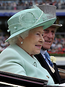 © Licensed to London News Pictures. 21/06/2012. Ascot, UK HRH Queen Elizabeth and HRH The Duke of Edinburgh attend Ladies Day at Royal Ascot 21st June 2012. Royal Ascot has established itself as a national institution and the centrepiece of the British social calendar as well as being a stage for the best racehorses in the world.. Photo credit : Stephen Simpson/LNP