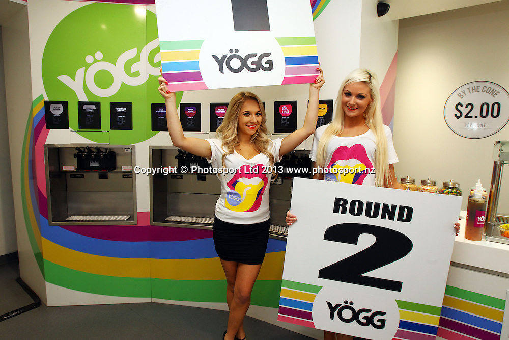 Promo Girls, Hydr8 Zero Explosion announcement for the dwarf undercard boxing bout between Colin Lane and Matthew Wood sponsored by Yogg. Featuring on the card before the main event, Parker v Botha on June 13. Yogg store, Mission Bay, Auckland. 29 May 2013. Photo: William Booth/photosport.co.nz