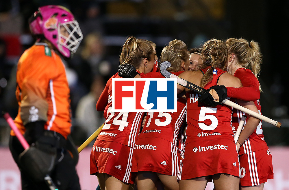 JOHANNESBURG, SOUTH AFRICA - JULY 14:  Jo Hunter of England celebrates her goal with team mates during day 4 of the FIH Hockey World League Women's Semi Finals Pool A match between Germany and England at Wits University on July 14, 2017 in Johannesburg, South Africa.  (Photo by Jan Kruger/Getty Images for FIH)