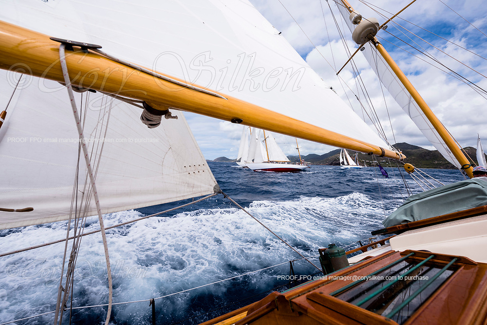 Sailing aboard Saphaedra in the Antigua Classic Yacht Regatta, Cannon Race.
