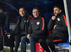 19.02.2016, Red Bull Arena, Leipzig, GER, 2. FBL, RB Leipzig vs 1. FC Union Berlin, 22. Runde, im Bild RB Co-Trainer Achim Beierlorzer, RB Trainer Ralf Rangnick und RB Co-Trainer Zsolt Löw / Loew // during the 2nd German Bundesliga 22th round match between RB Leipzig and 1. FC Union Berlin at the Red Bull Arena in Leipzig, Germany on 2016/02/19. EXPA Pictures © 2016, PhotoCredit: EXPA/ Eibner-Pressefoto/ Modla<br /> <br /> *****ATTENTION - OUT of GER*****