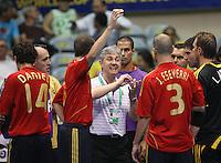 Fussball  International  FIFA  FUTSAL WM 2008   16.10.2008 Halbfinale Spain - Italy Spanien - Italien Trainer Venancio LOPEZ (ESP) gibt in einer Auszeit Anweisungen