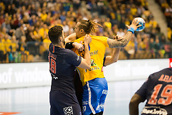Branko Vujovic vs Nedim Remili during handball match between RK Celje Pivovarna Lasko (SLO) and Paris Saint-Germain HB (FRA) in VELUX EHF Champions League 2018/19, on February 24, 2019 in Arena Zlatorog, Celje, Slovenia. Photo by Peter Podobnik / Sportida