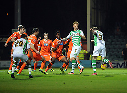 Yeovil Town's John Lundstram scores the opening goal - Photo mandatory by-line: Joe Meredith/JMP - Tel: Mobile: 07966 386802 03/12/2013 - SPORT - Football - Yeovil - Huish Park - Yeovil Town v Blackpool - Sky Bet Championship