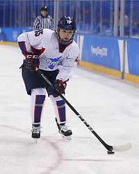 February 18, 2018 - Pyeongchang, KOREA - Korea defenseman Chaelin Park (15) in a hockey game between Switzerland and Korea during the Pyeongchang 2018 Olympic Winter Games at Kwandong Hockey Centre. Switzerland beat Korea 2-0. (Credit Image: © David McIntyre via ZUMA Wire)