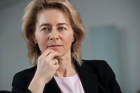 17 MAR 2009, BERLIN/GERMANY:<br /> Ursula von der Leyen, CDU, Bundesfamilienministerin, waehrend einem Interview, in ihrem Buero, Bundesministerium fuer Familie, Senioren, Frauen und Jugend<br /> IMAGE: 20090317-01-047