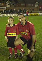 MASCOT WITH DARREN COLLINS KETTERING TOWN, MASCOT HEDNESFORD GAME 12/2/02Kettering Town v Hednesford 12th February 2002