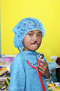 9 year old Alijay Visitacion in the Child life play area getting ready for surgery. Isabel United Doctor Medical Centre. Operation Smile's 2015 mission to Cauayan city. Philippines. 14th -21st February 2015.<br /> <br /> (Operation Smile Photo - Zute Lightfoot)
