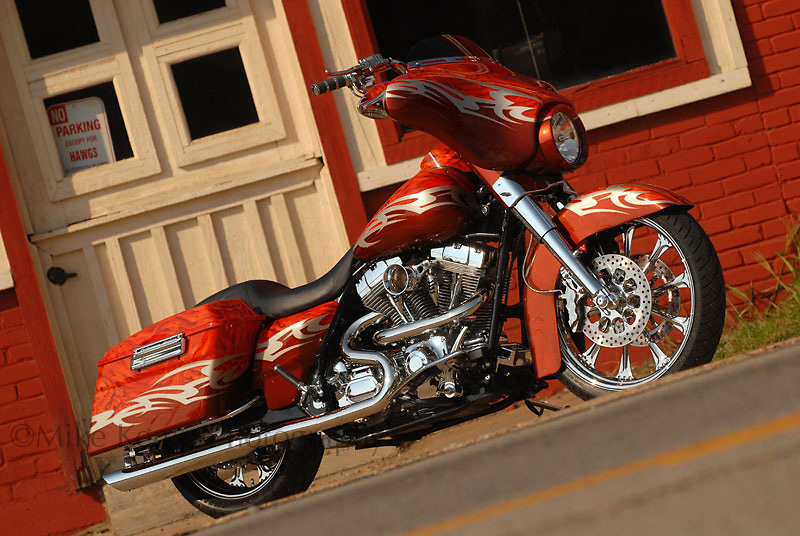 "Harley Davidson bagger dubbed ""Psychotic"", photographed in downtown Clarksville, AR for submission to ""Baggers"" magazine."