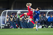 Chelsea Ladies Drew Spence (24) tackles Montpellier defender during the UEFA Women's Champions League quarter final second leg match between Chelsea Ladies and Montpellier Feminines at the Kings Sports Ground, New Malden, United Kingdom on 28 March 2018. Picture by Robin Pope.