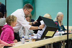 © Licensed to London News Pictures . 09/10/2014 . Heywood , UK . The first ballots arrive and are counted at the count at the Heywood and Middleton by-election , following the death of sitting MP Jim Dobbin . Photo credit : Joel Goodman/LNP