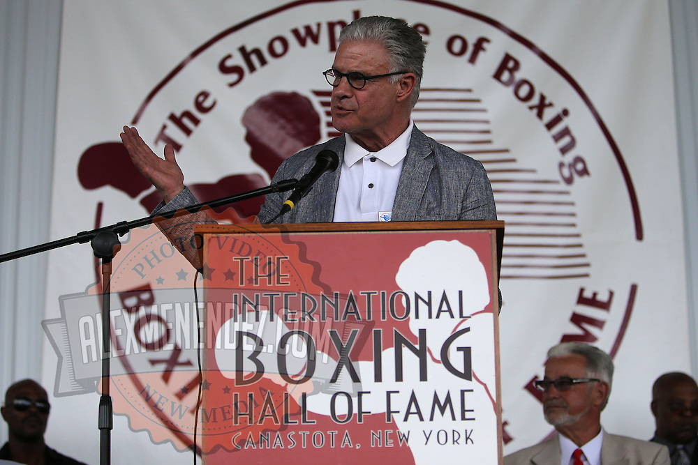 CANASTOTA, NY - JUNE 14: Boxing commentator Jim Lampley speaks during the induction ceremony at the International Boxing Hall of Fame induction Weekend of Champions events on June 14, 2015 in Canastota, New York. (Photo by Alex Menendez/Getty Images) *** Local Caption *** Jim Lampley