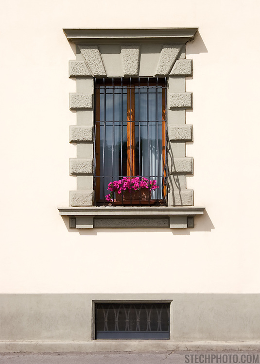 An apartment window on a street in Florence, Italy.<br />