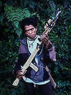 A pro-independence civilian with homemade spear gun.<br />