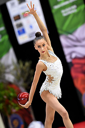 July 28, 2018 - Chieti, Abruzzo, Italy - Rhythmic gymnast Yeva Meleshchuk of Ukraine performs her ball routine during the Rhythmic Gymnastics pre World Championship Italy-Ukraine-Germany at Palatricalle on 29th of July 2018 in Chieti Italy. (Credit Image: © Franco Romano/NurPhoto via ZUMA Press)