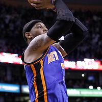 04 March 2012: New York Knicks small forward Carmelo Anthony (7) takes a jumpshot during the Boston Celtics 115-111 victory over the New York Knicks at the TD Garden, Boston, Massachusetts, USA.