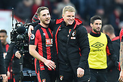 AFC Bournemouth manager Eddie Howe celebrates the 2-1 win over Arsenal with Dan Gosling (4) of AFC Bournemouth during the Premier League match between Bournemouth and Arsenal at the Vitality Stadium, Bournemouth, England on 14 January 2018. Photo by Graham Hunt.