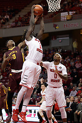 06 January 2016: Donte Ingram(0) attempts to take the ball from Quintin Brewer (2) during the Illinois State Redbirds v Loyola-Chicago Ramblers at Redbird Arena in Normal Illinois (Photo by Alan Look)