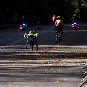 NYTRUN - NOV. 6, 2016 - NEW YORK - Tatyana McFadden (350), who would go on to finish first in the Pro Wheelchair Women division of the 2016 TCS New York City Marathon, heads into Central Park at 90th Street in Manhattan on Sunday morning. NYTCREDIT:  Karsten Moran for The New York Times **PLS CHECK FINISH PLACE AND TIMES