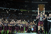 July 6th 2011: Maroons captain, Darren Lockyer holds up the winner sheild on stage after game 3 of the 2011 State of Origin series at Suncorp Stadium in Brisbane, QLD, Australia on July 6, 2011. Photo by Matt Roberts / mattrimages.com.au / QRL
