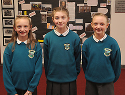 4th Class pupils Emily and Lucy O&rsquo;Connell and Molly Williams were pictured at Scoil Padraig Westport where a plaque marking 150 years since the foundation of CBS in Westport<br />Pic Conor McKeown
