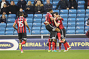 Shrewsbury Town midfielder Louis Dodds (10) celebrates scoring 0-1 with team mates during the EFL Sky Bet League 1 match between Millwall and Shrewsbury Town at The Den, London, England on 10 December 2016. Photo by Matthew Redman.