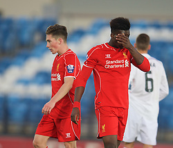 MADRID, SPAIN - Tuesday, November 4, 2014: Liverpool's Jerome Sinclair looks dejected as his side lose 4-1 to Real Madrid CF during the UEFA Youth League Group B match at Ciudad Real Madrid. (Pic by David Rawcliffe/Propaganda)