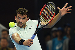 BEIJING, Oct. 7, 2017  Grigor Dimitrov of Bulgaria returns the ball during the men's singles semifinal match against Rafael Nadal of Spain at the China Open tennis tournament in Beijing on Oct. 7, 2017. Grigor Dimitrov lost 1-2.  wll) (Credit Image: © Ju Huanzong/Xinhua via ZUMA Wire)