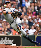 San Diego Padres third baseman Christian Villanueva tags out Houston Astros' Max Stassi during the seventh inning of a baseball game, Sunday, April 8, 2018, in Houston. (AP Photo/Eric Christian Smith)