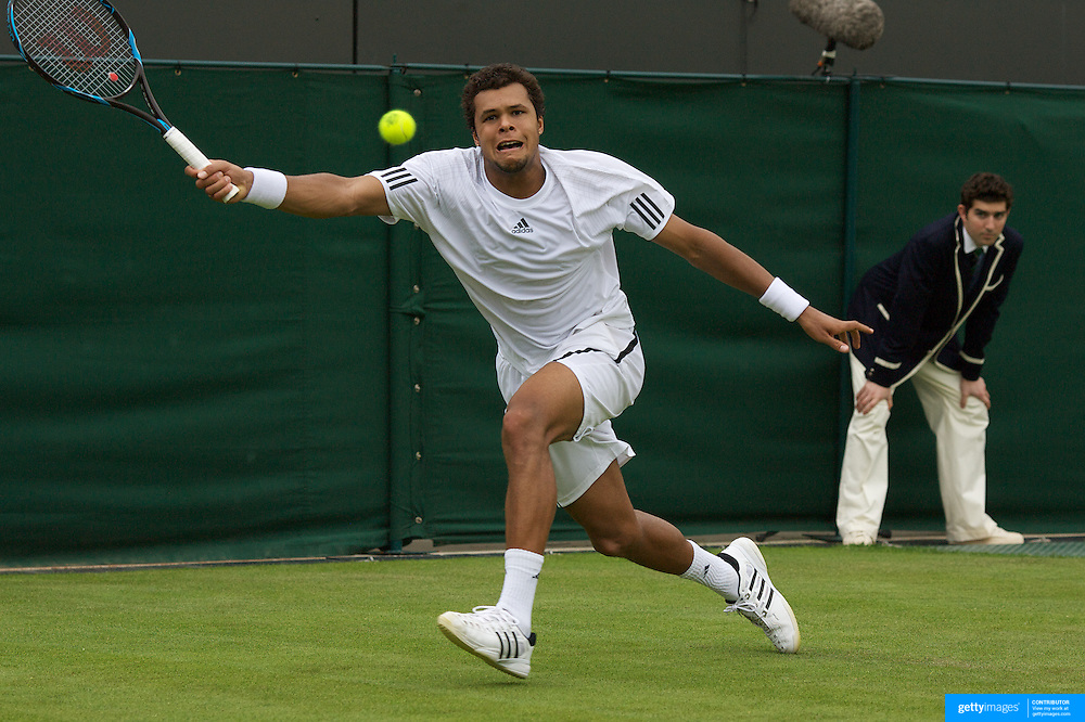 Jo-Wilfred Tsonga, France in action during his four set victory over Andrey Golubev,  in the first round of  the All England Lawn Tennis Championships at Wimbledon, London, England on Monday, June 22, 2009. Photo Tim Clayton.