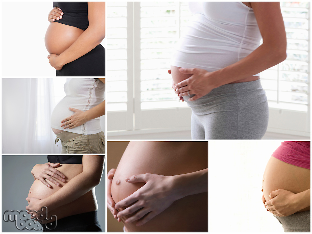 Collage of pregnant women