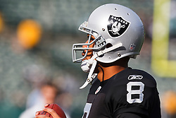 November 28, 2010; Oakland, CA, USA;  Oakland Raiders quarterback Jason Campbell (8) warms up before the game against the Miami Dolphins at Oakland-Alameda County Coliseum. Miami defeated Oakland 33-17.