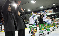 Coach Mike Posma, Bojan Zajc and Players of Olimpija celebrating the victory after the ice hockey match ZM Olimpija vs Liwest Linz in sixth round of semi-final of Ebel League (Erste Bank Eishockey Liga),  on March  9, 2008 in Arena Tivoli, Ljubljana, Slovenia. Win of ZM Olimpija 2:0, ZM Olimpija qualified in finals. (Photo by Vid Ponikvar / Sportal Images)