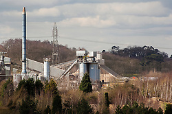 Industry in the countryside. Buildings, machinery and plant at an aggregate quarry site, Mountsorrel, Leicestershire, England, UK.