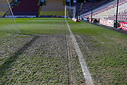 A muddy pitch after heavy rain at the Northern Commercials Stadium during the EFL Sky Bet League 1 match between Bradford City and Peterborough United at the Northern Commercials Stadium, Bradford, England on 9 March 2019.