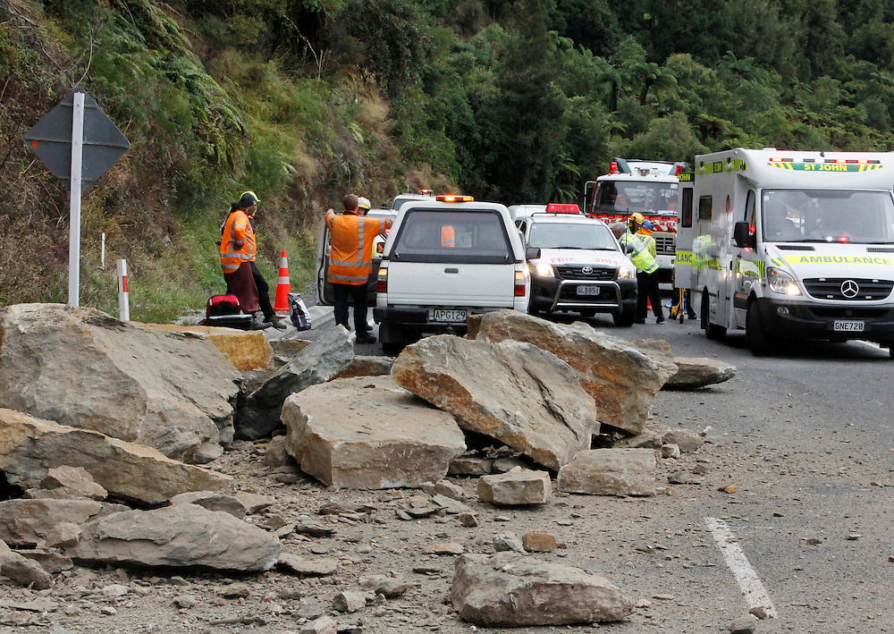 The 76 year old passenger died and the driver escaped with minimal injuries after a rockfall fell from a cliff above the roadway on to their car, on SH3 near Pio Pio in the Waikato, New Zealand, Friday, March 28, 2014. Credit:SNPA / Rob Tucker