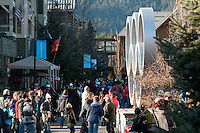The Olympic Rings are a favorite photo spot for visitors during the 2010 Olympic Winter games in Whistler, BC Canada.