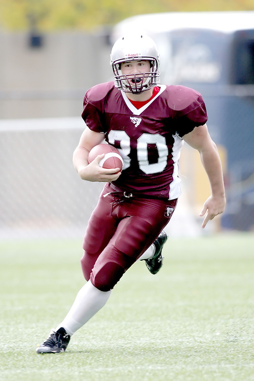 (20 October 2007 -- Ottawa) The University of Ottawa Gee Gees football team defeated the University of Windsor Lancers 43-2 to complete a perfect undefeated season. The player pictured is Justin Hammond