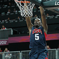 04 August 2012: USA Kevin Durant dunks the ball during 99-94 Team USA victory over Team Lithuania, during the men's basketball preliminary, at the Basketball Arena, in London, Great Britain.