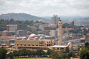 City view of Kampala and the National Mosque sponsored by Colonel Gaddafi of Libya. Uganda. Africa.